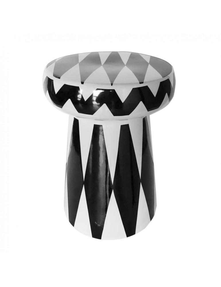Pouf en céramique Africa Noir et Blanc ml002noirblanc