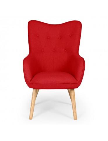 fauteuil scandinave klarys tissu rouge 8801red. Black Bedroom Furniture Sets. Home Design Ideas