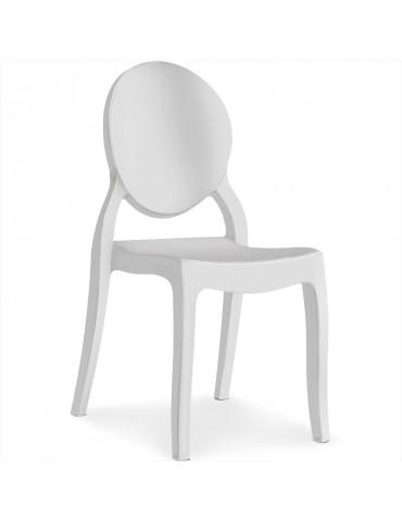 Lot de 4 chaises médaillon Diva Blanc zs9007lwhite