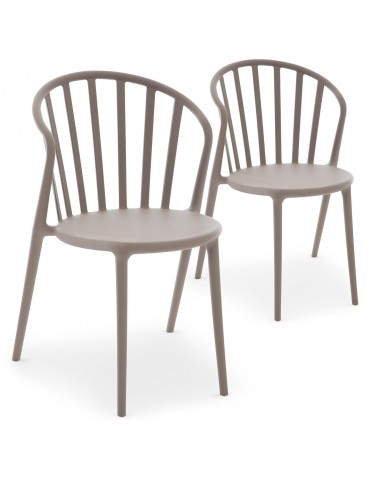 Lot de 2 chaises empilables Olvida Taupe clair 62197lot2taupeclair
