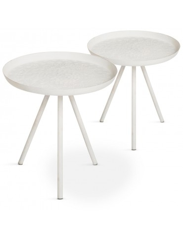 Lot de 2 tables d'appoint en métal matelé Palonia Blanc 72039lot2blanc