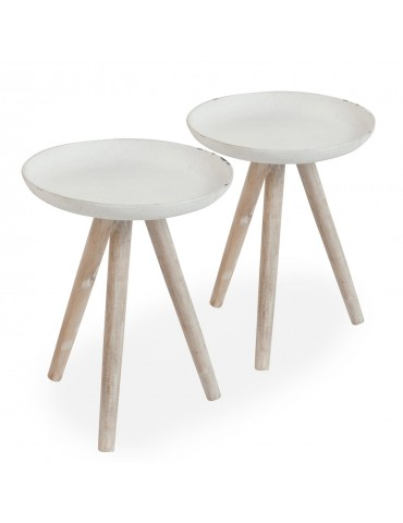 Lot de 2 tables d'appoint scandinaves Xena Manguier patiné et Métal Blanc 72030lot2blanc