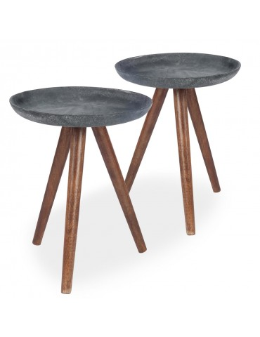 Lot de 2 tables d'appoint scandinaves Xena Manguier foncé et Métal Gris 72030lot2gris