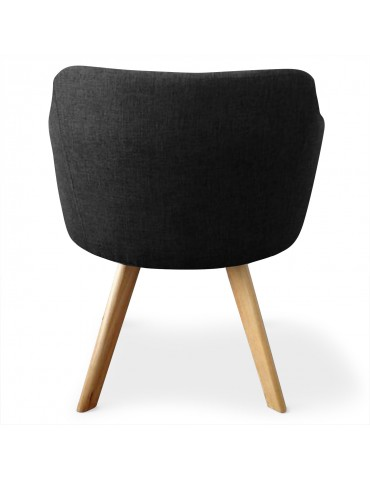 Lot de 2 fauteuils scandinaves Dantes Tissu Noir yf1529lot2noir