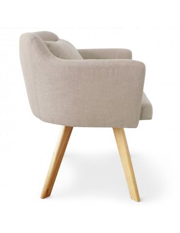 Lot de 2 fauteuils scandinaves Dantes Tissu Beige yf1529lot2beige