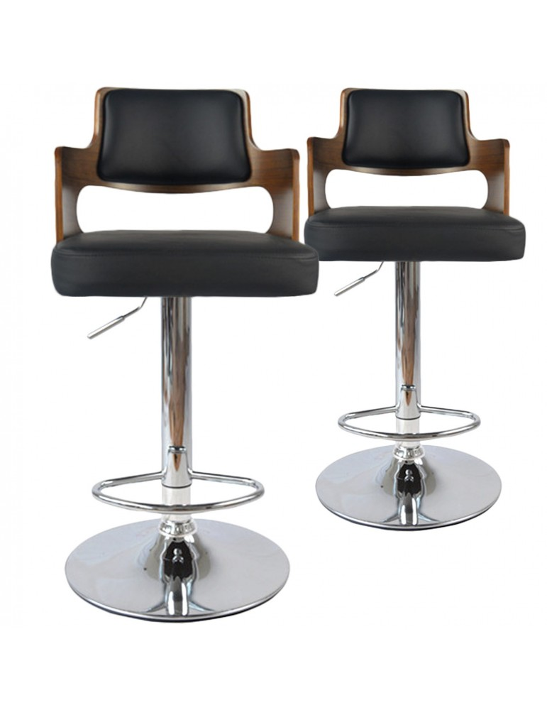 Lot de 2 chaises de bar Russel Bois Noisette & Noir 1058lot2noisnoir