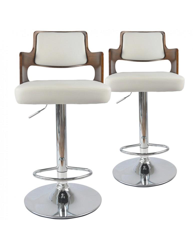 Lot de 2 chaises de bar Russel Bois Noisette & Blanc 1058lot2noisblanc