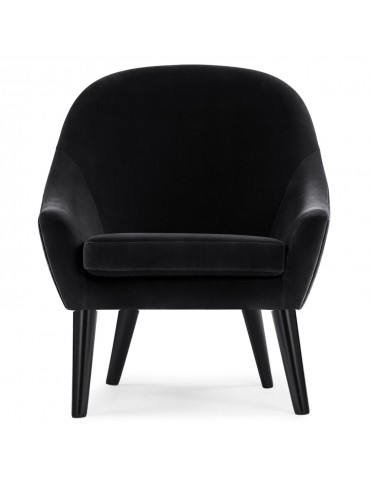 Fauteuil scandinave Dakota Velours Noir qh8923black66