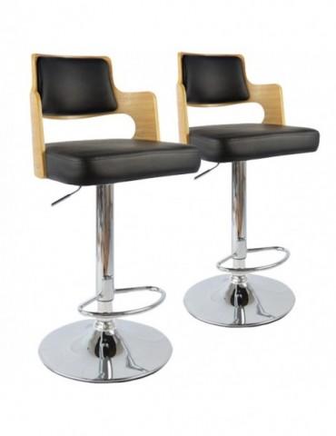 Lot de 2 chaises de bar Russel Chêne Clair & Noir 1058lot2chenenoir