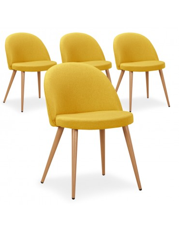 Lot de 4 chaises scandinaves Maury tissu Jaune dc5106yellow