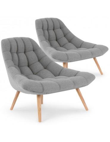 Lot de 2 fauteuils Danios Tissu Gris qh8927grey18