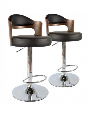 Lot de 2 chaises de bar Ruben Bois Noisette & Noir 1025lot2noisnoir