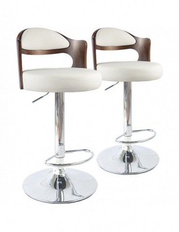 Lot de 2 chaises de bar Ruben Bois Noisette & Blanc 1025lot2noisblanc