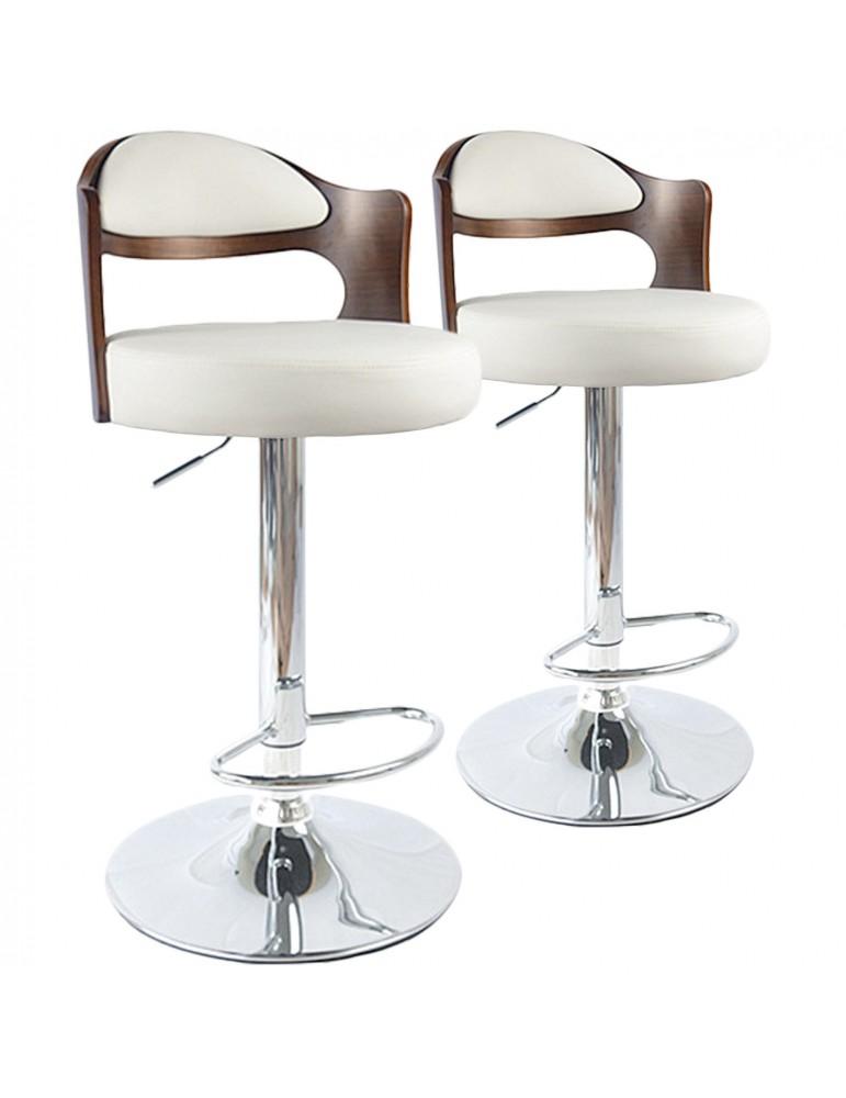 Lot de 2 chaises de bar Ruben Bois Noisette & Blanc 1025lot2noisblanc