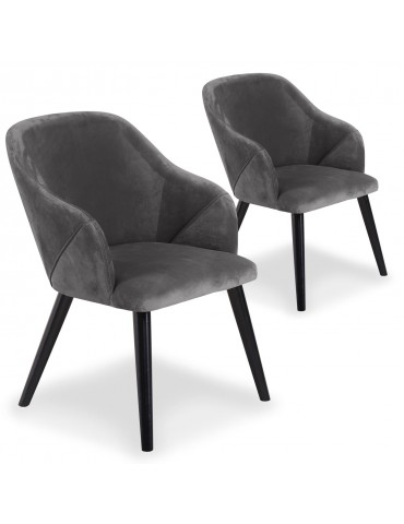 Lot de 2 fauteuils Liberto Velours Gris qh8929grey21