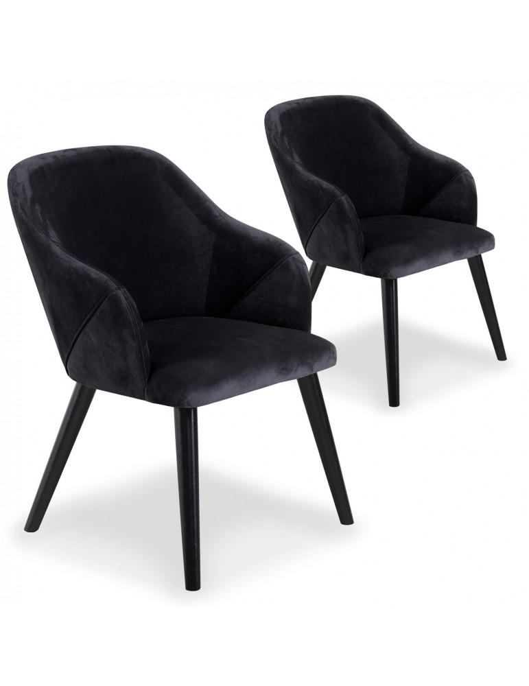 Lot de 2 fauteuils Liberto Velours Noir qh8929black66