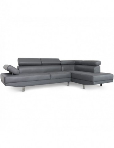 Canapé d'angle avec têtières relevables Alfa Gris lf3045sggris