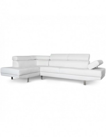 Canapé d'angle avec têtières relevables Alfa Blanc lf3045sdblanc