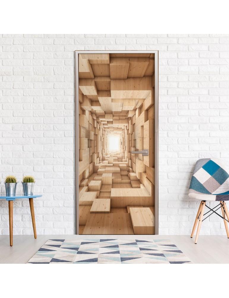 Papier-peint pour porte - Wooden Tunnel A1-TNTTUR0215