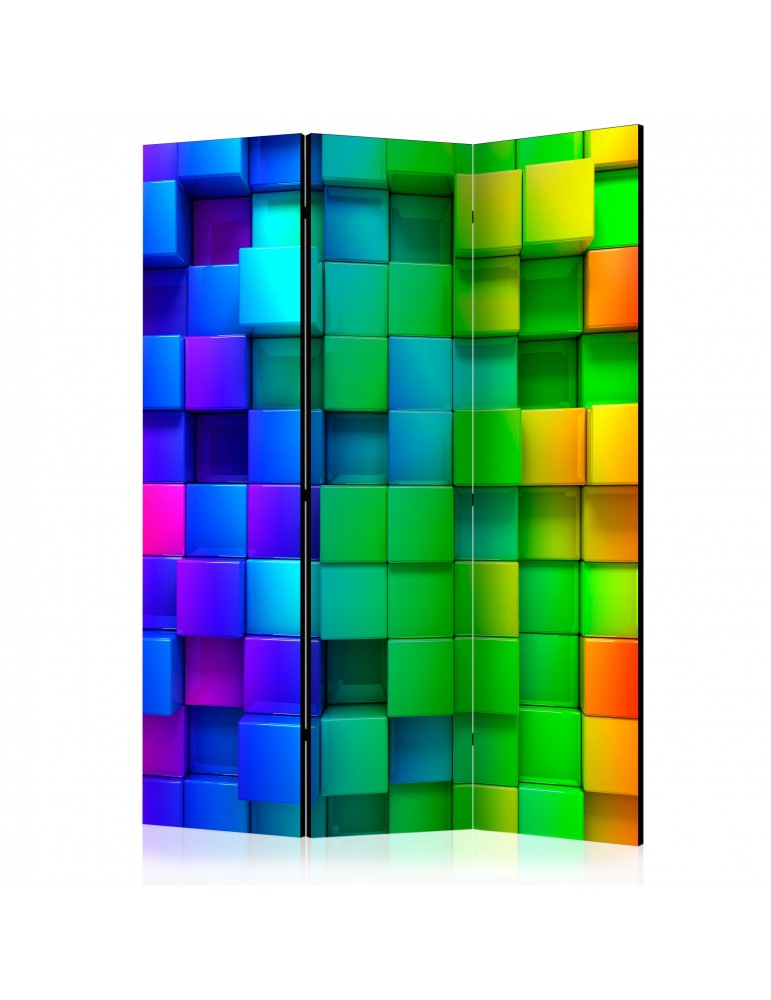 Paravent 3 volets - Colourful Cubes [Room Dividers] A1-PARAVENT51