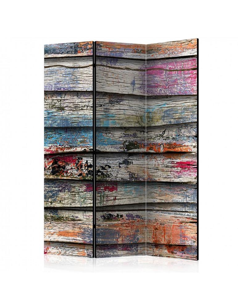 Paravent 3 volets - Colourful Wood [Room Dividers] A1-PARAVENT653