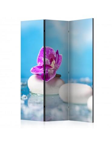 Paravent 3 volets - Pink Orchid and white Zen Stones [Room Dividers] A1-PARAVENT989