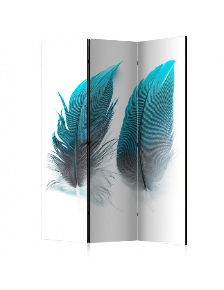 Paravent 3 volets - Blue Feathers [Room Dividers] A1-PARAVENT1017