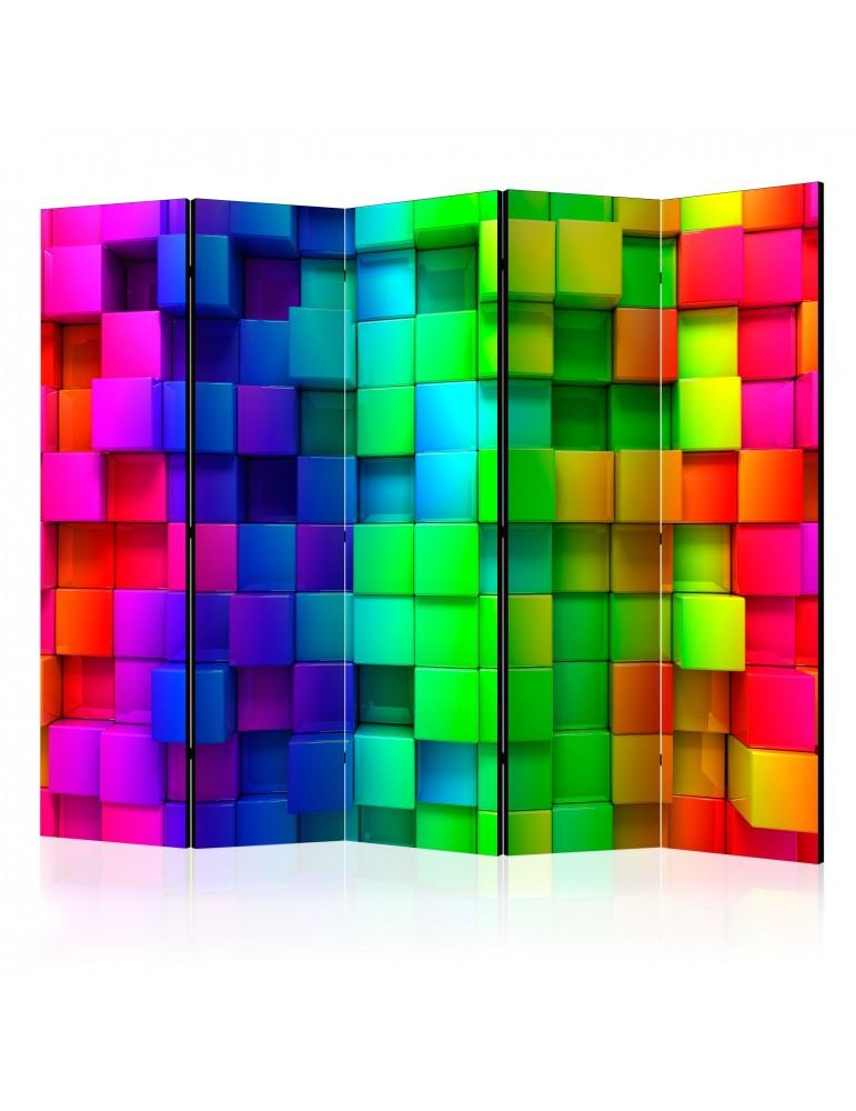Paravent 5 volets - Colourful Cubes II [Room Dividers] A1-PARAVENT52