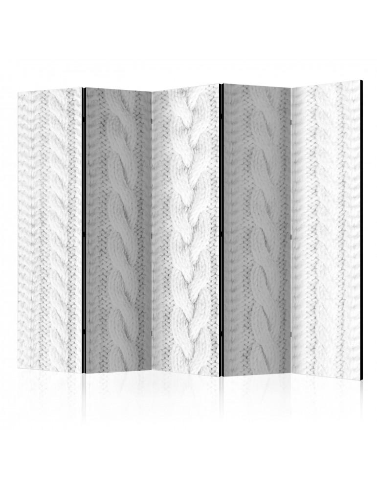 Paravent 5 volets - White Knit II [Room Dividers] A1-PARAVENT731