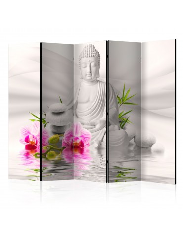 Paravent 5 volets - Buddha and Orchids II [Room Dividers] A1-PARAVENT90