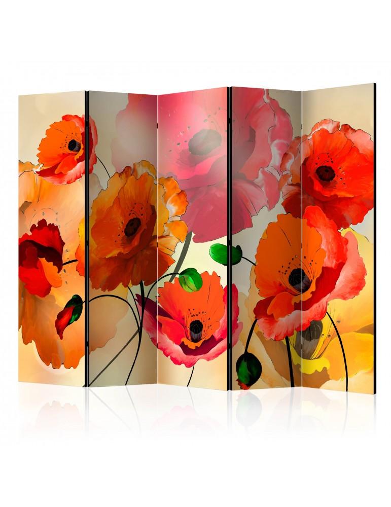 Paravent 5 volets - Velvet Poppies II [Room Dividers] A1-PARAVENT466