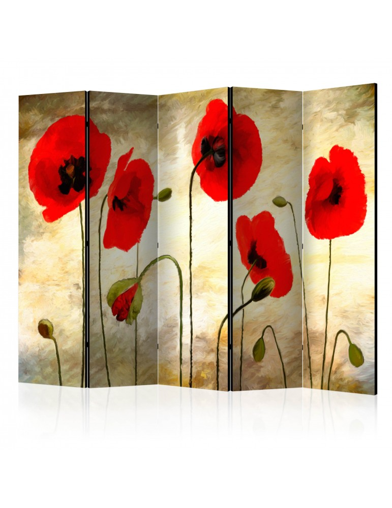 Paravent 5 volets - Golden Field of Poppies II [Room Dividers] A1-PARAVENT468