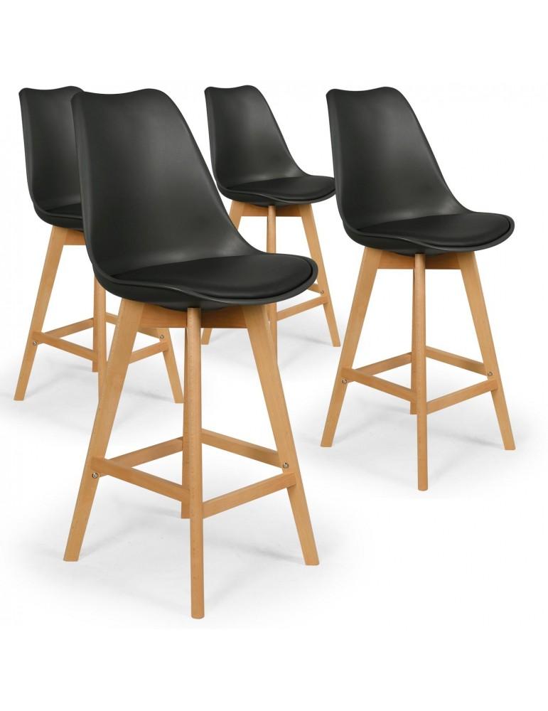 Lot de 4 chaises hautes scandinaves Bovary Noir c807noir