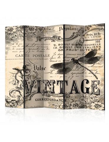Paravent 5 volets - Vintage Correspondence II [Room Dividers] A1-PARAVENT500