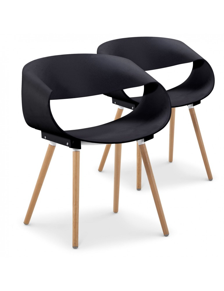 Lot de 2 chaises scandinaves design Zenata Noir dc5069noir