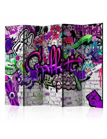 Paravent 5 volets - Purple Graffiti [Room Dividers] A1-PARAVENT661