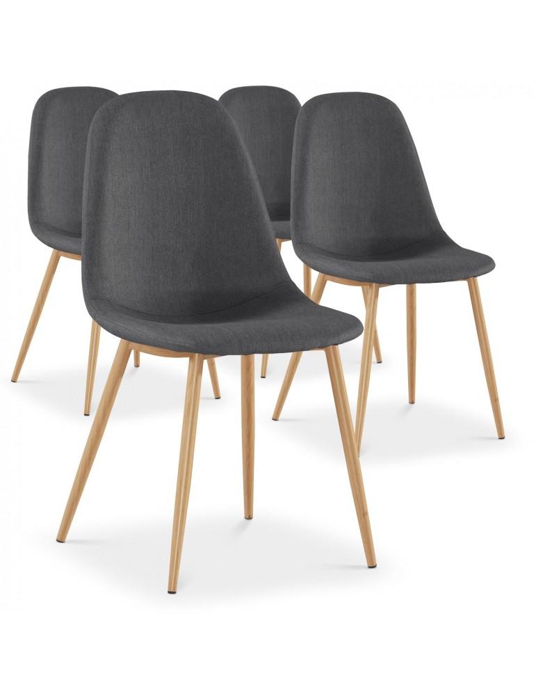 Lot de 4 chaises scandinaves Gao Tissu Gris dc5081gris
