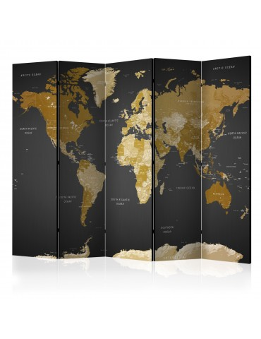 Paravent 5 volets - Room divider - World map on dark background A1-PARAVENT877