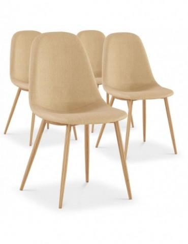 Lot de 4 chaises scandinaves Gao Tissu Beige dc5081beige