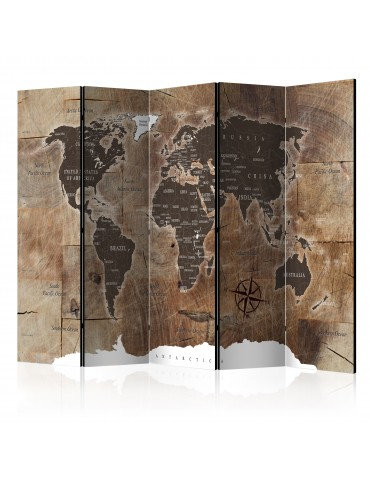 Paravent 5 volets - Room divider – Map on the wood A1-PARAVENT871