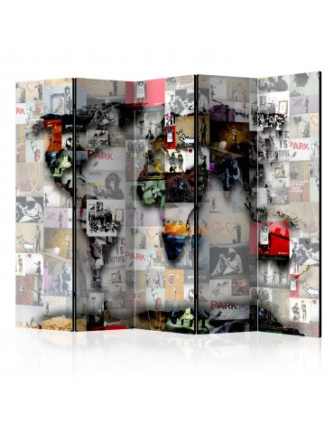 Paravent 5 volets - Room divider – World map – Banksy A1-PARAVENT873