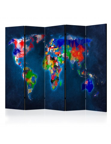Paravent 5 volets - Room divider – Colorful map A1-PARAVENT872