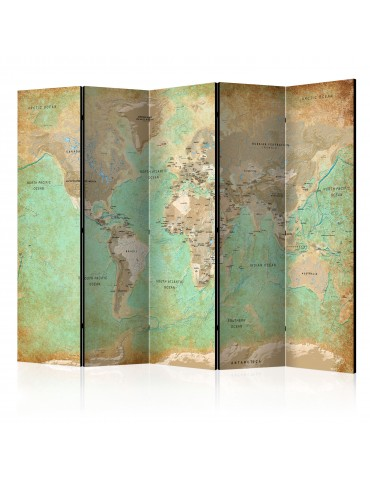 Paravent 5 volets - Turquoise World Map [Room Dividers] A1-PARAVENT840