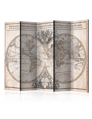 Paravent 5 volets - Mappe-Monde Geo-Hydrographique [Room Dividers] A1-PARAVENT108