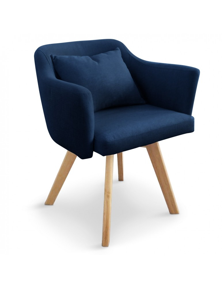 Chaise / Fauteuil scandinave Dantes Tissu Bleu yf1529bleu