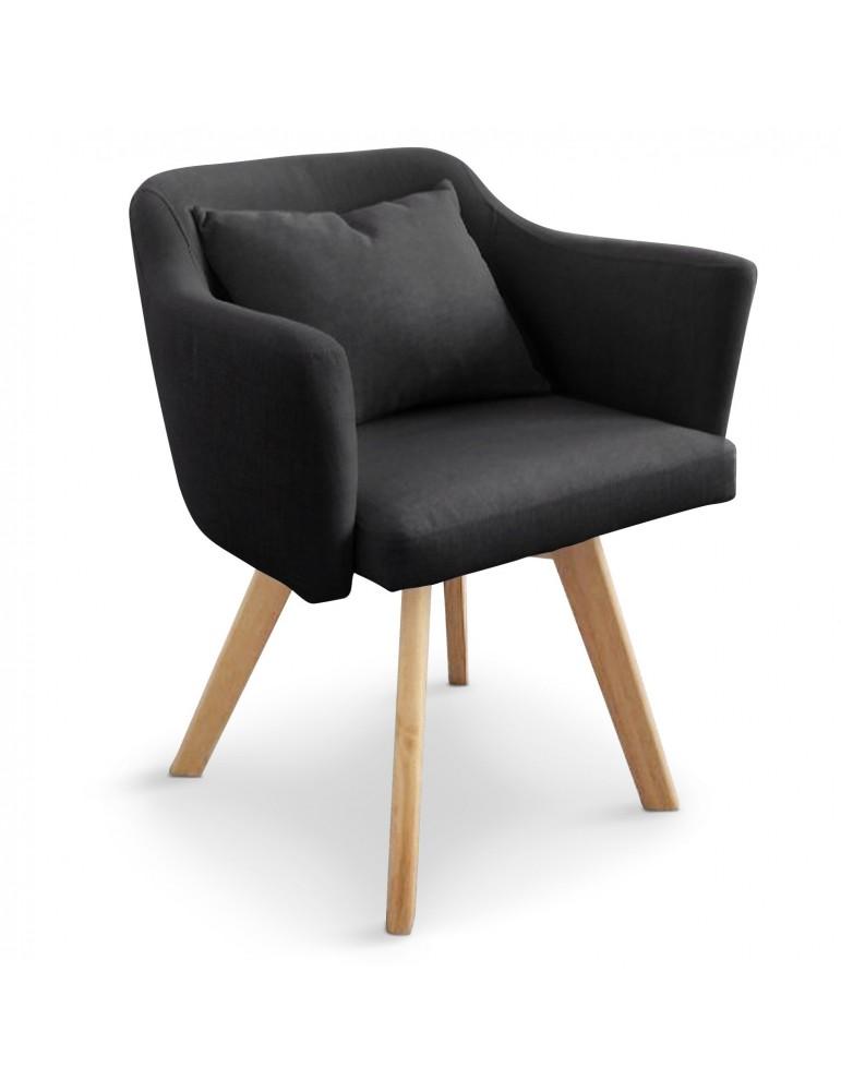 Chaise / Fauteuil scandinave Dantes Tissu Noir yf1529noir