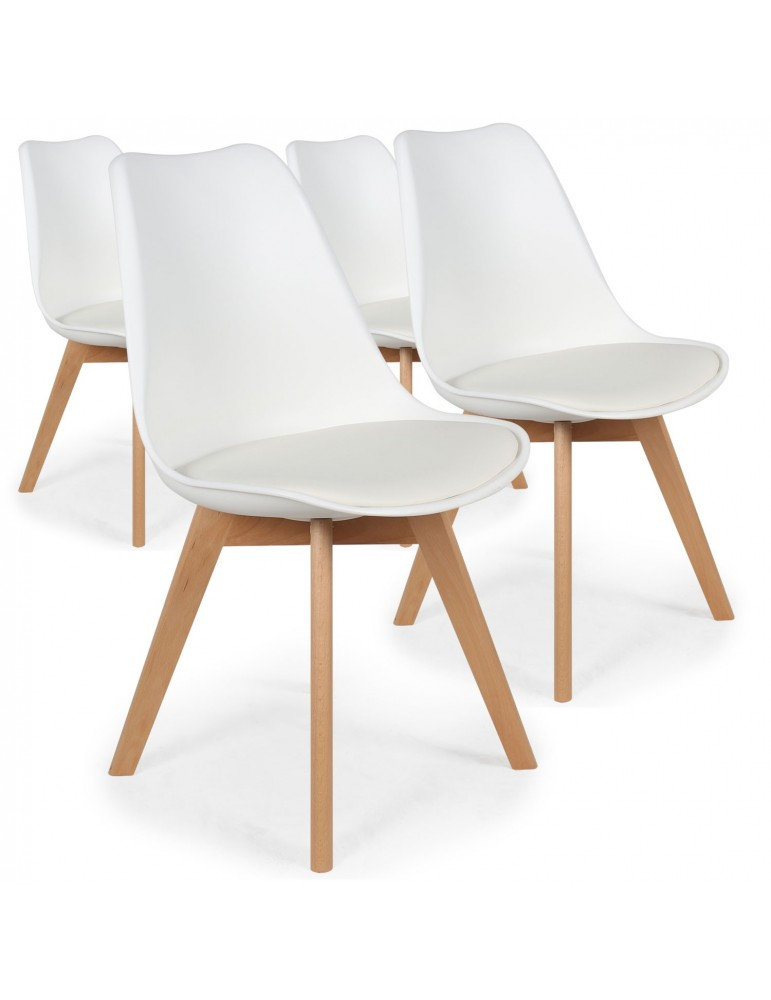 Lot de 4 chaises style scandinave Bovary Blanc ty01lot4white