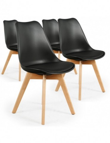 Lot de 4 chaises style scandinave Bovary Noir ty01lot4black