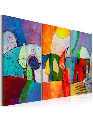 Tableau peint à la main - Paysage multicolore A1-N2501-MK