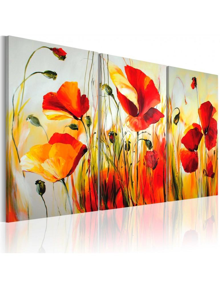 Tableau peint à la main - prairie rouge A1-N2504-MK